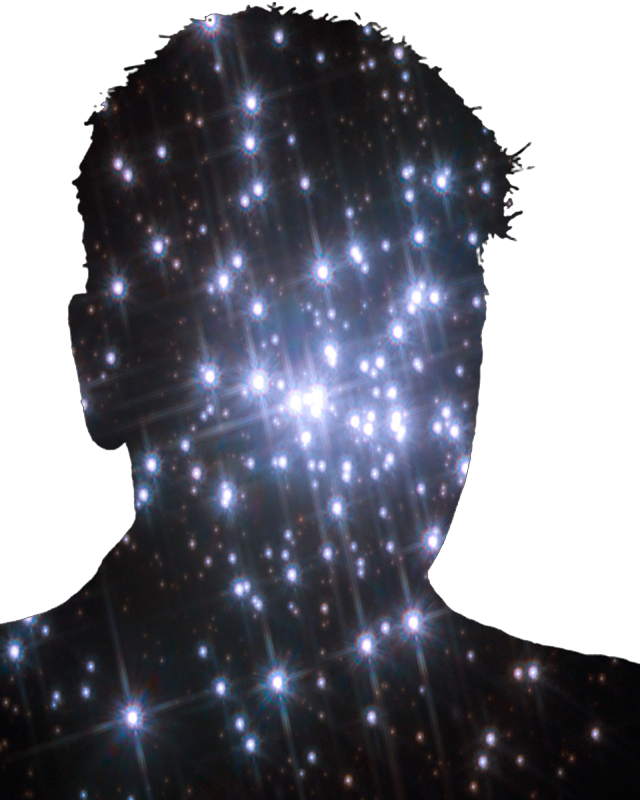A mans head made of stars.  We are all made of stars.